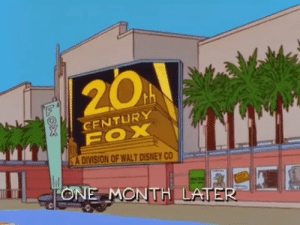multiplegenredisorder: wildcardarcana:  stolenswingset:  donoteattheyellowsnow: 1999 - The Simpsons predicts everything that happens in the world The messed up part is that this, along with the Trump presidency, were predicted as jokes. These were seen as things so ridiculous that not only could they not actually happen, the idea of them was funny. So every time a Simpsons prediction comes true, the Simpsons wasn't really trying to predict the future, they were making a cynical joke because they thought the real future would be better than it actually is. We're living in the timeline where all the Simpsons' worst assumptions about the world were 100% right.  The Darkest Timeline  : 20A  CENTURY  A DIVISION OF WALT DISNEY CO  ONE MONTH LATE multiplegenredisorder: wildcardarcana:  stolenswingset:  donoteattheyellowsnow: 1999 - The Simpsons predicts everything that happens in the world The messed up part is that this, along with the Trump presidency, were predicted as jokes. These were seen as things so ridiculous that not only could they not actually happen, the idea of them was funny. So every time a Simpsons prediction comes true, the Simpsons wasn't really trying to predict the future, they were making a cynical joke because they thought the real future would be better than it actually is. We're living in the timeline where all the Simpsons' worst assumptions about the world were 100% right.  The Darkest Timeline
