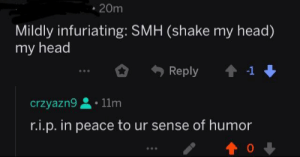 """the caption to my post contained """"smh my head""""...help me get karmic revenge: 20m  Mildly infuriating: SMH (shake my head)  my head  1  Reply  11m  crzyazn9  r.i.p. in peace to ur sense of humor the caption to my post contained """"smh my head""""...help me get karmic revenge"""