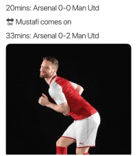 Arsenal, Memes, and 🤖: 20mins: Arsenal O-0 Man Utd  Mustafi comes on  33mins: Arsenal 0-2 Man Utd Poor Mustafi 😅😅
