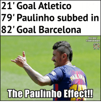 Barcelona, Memes, and fb.com: 21' Goal Atletico  79' Paulinho subbed in  82' Goal Barcelona  Fb.com/  TrollFoothall  The  Paulinho Effect!! Paulinho's presence is enough. https://t.co/l0CPrGDJE7