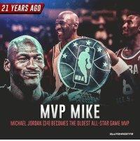 21 years ago?! Who's taking home the hardware this year? 🏆 -- @bullsnation_chicago: 21 YEARS AG0  NBA  MVP MIKE  MICHAEL JORDAN (34] BECOMES THE OLDEST ALL-STAR GAME MVP  CLUTCHPOINTS 21 years ago?! Who's taking home the hardware this year? 🏆 -- @bullsnation_chicago