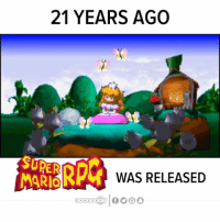 21 YEARS AGO  K WAS RELEASED Super Mario RPG released in Japan 21 years ago today! Who was in your party? ❤️🎵?! --- SuperMarioRPG Mario Mallow Geno Bowser PrincessToadstool Peach