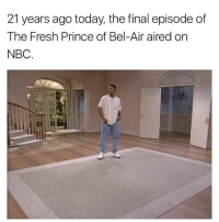freshprinceofbelair: 21 years ago today, the final episode of  The Fresh Prince of Bel-Air aired on  NBC. freshprinceofbelair