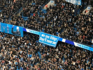 Man City fans show the Manchester reds that they have history by reminding them that they played in the 3rd division. https://t.co/AyUgQ4TvEz: 212  21  THIS IS OUR C We see things  THIS IS OUR CITY  they'll never see Man City fans show the Manchester reds that they have history by reminding them that they played in the 3rd division. https://t.co/AyUgQ4TvEz