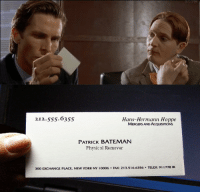 Patrick Bateman: 212.555.6355  Hans-Hermann Hoppe  MERGERS AND AcQuismONs  PATRICK BATEMAN  Physical Remover  300 EXCHANGE PLACE.  NEW YORK, NY 10006  FAx: 213.516.6356 TELEX: 911778 IR  SITO SPEAK