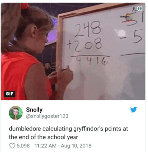 Dank, Dumbledore, and Gif: 218  GIF  Snolly  @snollygoster123  dumbledore calculating gryffindor's points at  the end of the school year  5,098  1 1 :22 AM-Aug 10, 2018 Me irl by Joaofranklin12 MORE MEMES