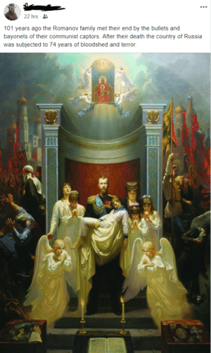 Family, New Orleans Saints, and Death: 22 hrs  101 years ago the Romanov family met their end by the bullets and  bayonets of their communist captors. After their death the country of Russia  subjected to 74 years of bloodshed and terror.  was Self-proclaimed libertarian thinks the Romanovs were literal saints