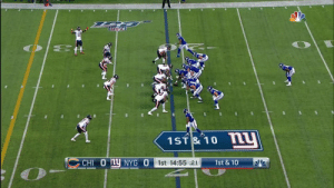 Eli Manning threw a dart on this 20-yard pass 🎯  📺: #CHIvsNYG on @NFLNetwork Watch on mobile: https://t.co/5P8hHjZKws https://t.co/ogwQBQiMHA: 22  O E  1ST& 10 N  CHI 0 hy NYG O  1st & 10  1st 14:55 :21 Eli Manning threw a dart on this 20-yard pass 🎯  📺: #CHIvsNYG on @NFLNetwork Watch on mobile: https://t.co/5P8hHjZKws https://t.co/ogwQBQiMHA