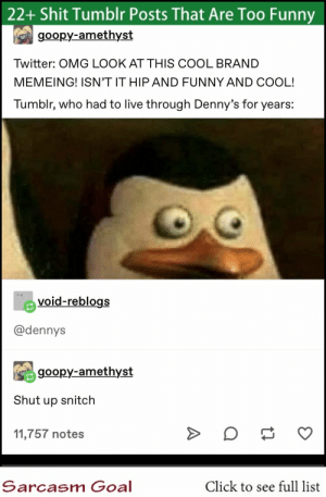 : 22+ Shit Tumblr Posts That Are Too Funny  goopy-amethyst  Twitter: OMG LOOK AT THIS COOL BRAND  MEMEING! ISN'T IT HIP AND FUNNY AND COOL!  Tumblr, who had to live through Denny's for years:  void-reblogs  @dennys  goopy-amethyst  Shut up snitch  11,757 notes  Sarcasm Goal  Click to see full list