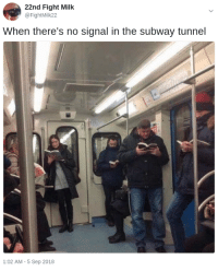 Memes, Subway, and Live: 22nd Fight Milk  @FightMilk22  When there's no signal in the subway tunnel  1:02 AM-5 Sep 2018 Memes TImes - The world we live in, today, described using memes.