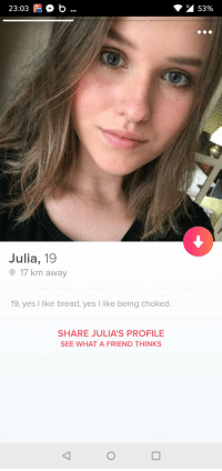 Tube, How, and Yes: 23:03 b.  53%  TUBE  Julia, 19  17 km away  19, yes I like bread, yes like being choked.  SHARE JULIA'S PROFILE  SEE WHAT A FRIEND THINKS How would one start a conversation in this situation?