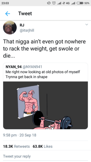 Dank, Memes, and Swole: 23:03  Tweet  RJ  @itsrjhill  That nigga ain't even got nowhere  to rack the weight, get swole or  die...  NYAN_94 @NYAN941  Me right now looking at old photos of myself  Trynna get back in shape  9:58 pm 20 Sep 18  18.3K Retweets 63.8K Likes  Tweet your reply Get ripped or ripped apart by DrewDraioi MORE MEMES
