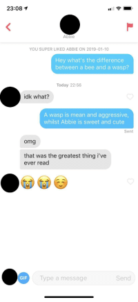 Cute, Gif, and Omg: 23:08  Abbie  YOU SUPER LIKED ABBIE ON 2019-01-10  Hey what's the difference  between a bee and a wasp?  Today 22:56  idk what?  A wasp is mean and aggressive  whilst Abbie is sweet and cute  Sent  omg  that was the greatest thing i've  ever read  GIF  Type a message  Send Saw this line on here and figured it had to work. I was right.
