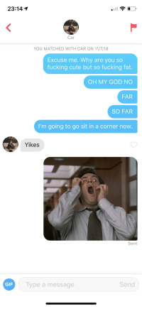 Cute, Fucking, and Gif: 23:14 1  Car  YOU MATCHED WITH CAR ON 11/7/18  Excuse me. Why are you so  fucking cute but so fucking fat.  OH MY GOD NO  FAR  SO FAR  I'm going to go sit in a corner now  Yikes  Sent  GIF  Type a message  Send Mission abort. SOS