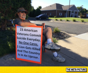 True, Tumblr, and American: 23 American  Veterans Commit  Suicide Everyday.  No One Cares  1 Lion Gets Killed  And The Country  Is In An Uproar.  THE META PICTURE srsfunny:It's Sad But True