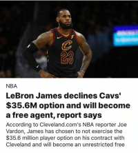 "Cavs, LeBron James, and Memes: 23  NBA  LeBron James declines Cavs""  $35.6M option and will become  a free agent, report says  According to Cleveland.com's NBA reporter Joe  Vardon, James has chosen to not exercise the  $35.6 milion player option on his contract with  Cleveland and will become an unrestricted free lebronjames declines Cavs $35.6m offer and will become a free agent. Where do you think he'll be going?"