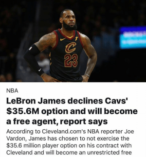 "AGAIN…round 2 of the burning jerseys begins soon😂: 23  NBA  LeBron James declines Cavs""  $35.6M option and will become  a free agent, report says  According to Cleveland.com's NBA reporter Joe  Vardon, James has chosen to not exercise the  $35.6 million player option on his contract with  Cleveland and will become an unrestricted free AGAIN…round 2 of the burning jerseys begins soon😂"