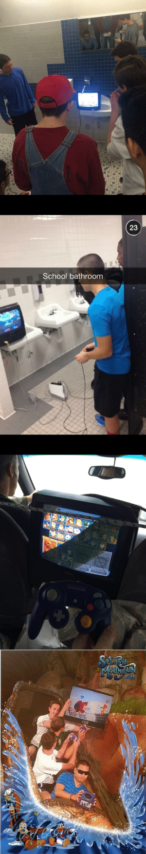 candygarnet:  daviddrawsgood: playing smash bros in weird places: the photoset they were taking gaming on the go before the switch, good on them : 23  School bathroom candygarnet:  daviddrawsgood: playing smash bros in weird places: the photoset they were taking gaming on the go before the switch, good on them