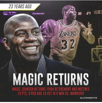 On this day, 23 years ago a 36 year old Magic who hadn't played an NBA game in 4 years came out of retirement to play PF for the Lakers once again, and dropped a near triple double of 19-10-8 in 27 minutes. I've said it once and I'll say it again, had he not contracted HIV, he would be the greatest to ever do it. He would have had a prime until his mid-late 30's. - nba nbadebate debate magic johnson magicman: 23 YEARS AGO  3 2  MAGIC RETURNS  MAGIC JOHNSON RETURNS FROM RETIREMENT AND NOTCHES  19 PTS, 8 REB AND 10 AST IN A WIN VS. WARRIORS  CLUTCHPOTNTS On this day, 23 years ago a 36 year old Magic who hadn't played an NBA game in 4 years came out of retirement to play PF for the Lakers once again, and dropped a near triple double of 19-10-8 in 27 minutes. I've said it once and I'll say it again, had he not contracted HIV, he would be the greatest to ever do it. He would have had a prime until his mid-late 30's. - nba nbadebate debate magic johnson magicman