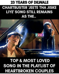 23 years of Dilwale rvcjinsta: 23 YEARS OF DIWALE  CHARTBUSTER JEETE THA JISKE  LIYET SONG STILL REMAINS  AS THE  RV CJ  WWW, RVCJ, COM  TOP & MOST LOVED  SONG IN THE PLAYLIST OF  HEARTBROKEN COUPLES 23 years of Dilwale rvcjinsta