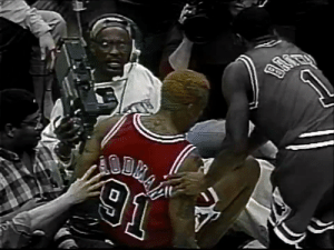 23 yrs ago today, Eugene Amos gave an Oscar-worthy performance after Dennis Rodman kicked him in the groin.   Worm paid the cameraman $200K, was fined $25K by the NBA & lost about a million dollars in salary due to an 11-GM suspension  📼 @Oldskoolbball1  https://t.co/iCTRiSAtbC: 23 yrs ago today, Eugene Amos gave an Oscar-worthy performance after Dennis Rodman kicked him in the groin.   Worm paid the cameraman $200K, was fined $25K by the NBA & lost about a million dollars in salary due to an 11-GM suspension  📼 @Oldskoolbball1  https://t.co/iCTRiSAtbC