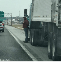 The photo of a driver of a semi-truck is going viral for his patriotic salute. The driver, U.S. Army veteran Bradley Faulkner, pulled to the shoulder of I-70, got out of the cab and placed his hand over his heart as a fellow veteran's funeral procession passed. ProudAmerican🇺🇸: 231 A  SOUTH  and Hts  70  Kristen Collins The photo of a driver of a semi-truck is going viral for his patriotic salute. The driver, U.S. Army veteran Bradley Faulkner, pulled to the shoulder of I-70, got out of the cab and placed his hand over his heart as a fellow veteran's funeral procession passed. ProudAmerican🇺🇸