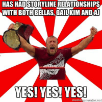 #5 Mah boy D Bryan has a reason to shout YES!: HAS HADSTORYLINE RELATIONSHIPS  WITH BOTH BELLAS GAILKIMANDAN  YES! YES! YES!  meme  net #5 Mah boy D Bryan has a reason to shout YES!