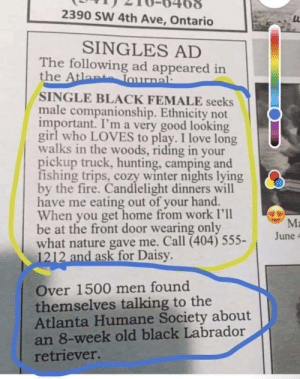 A wholesome surprise: 2390 SW 4th Ave, Ontario  SINGLES AD  The following ad appeared in  the Atlante Tournal:  SINGLE BLACK FEMALE seeks  male companionship. Ethnicity not  important. I'm a very good looking  girl who LOVES to play. I love long  walks in the woods, riding in your  pickup truck, hunting, camping and  fishing trips, cozy winter nights lying  by the fire. Candlelight dinners will  have me eating out of your hand.  When you get home from work I'll  be at the front door wearing only  what nature gave me. Call (404) 555-  1212 and ask for Daisy.  Ma  June -  Over 1500 men found  themselves talking to the  Atlanta Humane Society about  an 8-week old black Labrador  retriever. A wholesome surprise