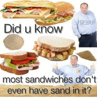 Did, Sand, and Sandwiches: 23RF  Did u know  most sandwiches don't  even have sand in it?