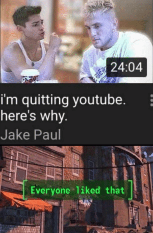 awesomesthesia:  > who wouldn't like that: 24:04  i'm quitting youtube.  here's why.  Jake Paul  Everyone liked that awesomesthesia:  > who wouldn't like that