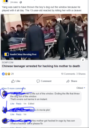 Life, Lol, and Saw: 24 mins  Yang was said to have thrown the boy's dog out the window because he  played with it all day. The 13-year-old reacted by killing her with a cleaver.  South Cina Morning Post  SCMP COM  Chinese teenager arrested for hacking his mother to death  0 Comments 3 Shares  Like  Comment  Share  ew 8 more commehts  Oldest ▼  rew a life out of the window. Ending the life that threw  the dog out of the window  That's evens out karma in an instant.  Like Reply 1m Edited  as b movie plot  Like Reply 1m  Hes mother got hacked in csgo by hes son  What a hackker Vaive please fix i was just scrolling around and i saw this comment lol