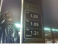 This game is amazing. Look at that gas price!!: 24  Reg.  1.06  Plus  Sup.  Gasoline This game is amazing. Look at that gas price!!