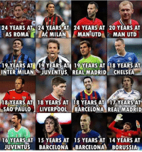 "Barcelona, Chelsea, and Memes: 24 YEARS AT 24 YEARS AT 24 YEARS AT 20 YEARS AT  AS ROMA A MILAN MANUTDMAN UTD  1%YEARS AIỆ/12 YEARSAT 19-YEARS AT 18 YEARS AT  INTER MILAN JUVENTUS REAL MADRID' CHELSEA""  184YEARS.AT 18 YEARS AT 18 YEARS AT 17 YEARSAT  SAO PAULOLIVERPOOLBARCELONA REAL MADRID  16 YEARSAT 15 YEARS AT 15 YEARS AT 14 YEARS AT  JUVENTUS BARCELONA BARCELONA BORUSSIA Loyalty is Special 😍👏⚽️"