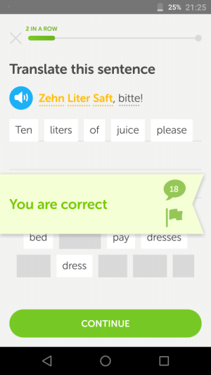 onlyusefulphrases: This party is gonna be off the hook : -25% 21:25  2 IN A ROW  Translate this sentence  Zehn Liter Saft, bitte!  Ten liters of juice please  18  You are correct  bed  pay dresses  dress  CONTINUE onlyusefulphrases: This party is gonna be off the hook
