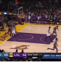 Basketball, Nba, and Sports: 25  45 LAL 42  2nd 5:55 24 S NBA WED Rondo acting on point😂 (Via @cjzero-Twitter)