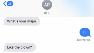Idk id this goes here…: 25  AR  Ali>  What's your major  IT  Delivered  Like the clown? Idk id this goes here…
