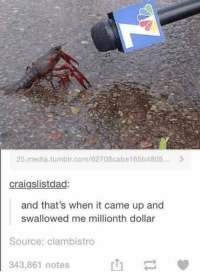 Dank, Pokemon, and Tumblr: 25 media tumblr, com/62708caba165b4805...  craigslistdad:  and that's when it came up and  swallowed me millionth dollar  Source: clambistro  343,861 notes ~Kingslayer  Checkout : Pokémon GO