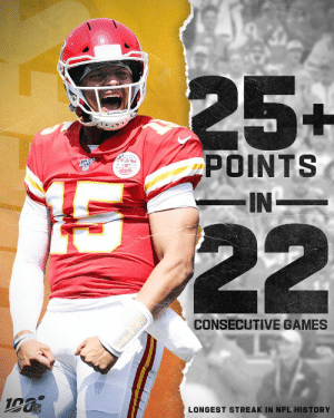 Points rule everything in #ChiefsKingdom. https://t.co/TejaCTe3zE: 25+  POINTS  -IN  22  CONSECUTIVE GAMES  LONGEST STREAK IN NFL HISTORY Points rule everything in #ChiefsKingdom. https://t.co/TejaCTe3zE