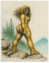 Bitch, Tumblr, and Blog: 25  R. CRUMB  @987 blackmodel:  capacity:  frequencebariole:  Robert Crumb - drawing - Sasquatch Woman - 1987  The baddest bitch in twin peaks    me w this golden hair and i aint shave