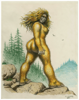 Bitch, Tumblr, and Blog: 25  R. CRUMB  @987 capacity:  frequencebariole:  Robert Crumb - drawing - Sasquatch Woman - 1987  The baddest bitch in twin peaks