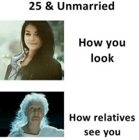Memes, 🤖, and How: 25 & Unmarried  How you  look  How relatives  see you