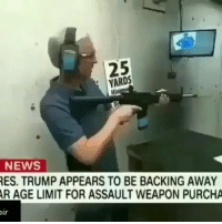 Guns, Memes, and News: 25  YARDS  Di  NEWS  ES. TRUMP APPEARS TO BE BACKING AWAY  R AGE LIMIT FOR ASSAULT WEAPON PURCHA  ir This idiot said Full semi automatic 🤦🏻‍♂️ @guns_badassery - - iseeretailexperts guncontrol