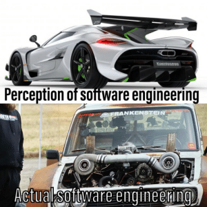 Engineering, Perception, and Reality: 251  Koenigsegg  Perception of software engineering  M  FRANKENSTEIN  Actual software engineering Perception vs reality
