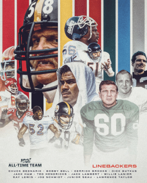 The 12 linebackers selected to the #NFL100 All-Time Team! https://t.co/CyFaUv6mnx: 252  ALL-TIME TEAM  LINEBACKERS  BELL DERRICK BR OOKS  CHUCK BEDNARIK  BOBBY  DICK BUTKUS  JACK H AM T ED HENDRICKS JACK LAMBERT Vw ILLIE LANIER  JUNIOR SEAU  RAY LEWIS.  JOE SCHMIDT .  LAWRENCE TAYLOR The 12 linebackers selected to the #NFL100 All-Time Team! https://t.co/CyFaUv6mnx