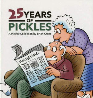 Charlie, Facebook, and Memes: 25YEARS  PICKLES  OF  A Pickles Collection by Brian Crane Our 25 Years of Pickles book is now in it's 2nd printing.  It's available on our website (picklescomic.com).  Here's a recent comment from a reader:  Hi, Brian. I've been looking for a book to read this summer and just hadn't found one. I read your strip everyday and often share it on Facebook. Then I got on this website and learned I can read all of your comic strips for the past 15-plus years. So you're my summer novel. My Atticus Finch. I started yesterday and read 2003. I'm into April of 2004 now. And I can say, without a doubt, you've nailed us. We are Pickled. I'm a bald old guy with a fringe of gray hair and round glasses and my wife is a fiery old gal with gray hair and glasses. We have a rescue dog Edie and a stowaway-in-the-engine-of-my-car despicable cat Kit Kat along with our three-year-old grandson Charlie who we babysit regularly. Thanks so much. I'm Pickled Pink.