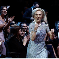 "Baked, England, and Memes: 26 JAN: Mary Berry reacts to winning the Best TV Judge during the National Television Awards at The O2 in London, England. The Great British Bake Off star won the award, beating Simon Cowell, David Walliams and Nicole Scherzinger. On stage she said: ""I'm thrilled, I love judging, it has always been a great honour. I think I know how to bake and I love telling people that, next time, do a little bit better."" PHOTO: John Phillips-Getty Images BBCSnapshot photography NTA NationalTelevisionAwards GBBO bakeoff baking MaryBerry"