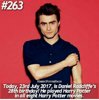 • Happy birthday Daniel Radcliffe. QOTD: When is your birthday? Comment down below and find your twin! Mine is 3 Dec. @harrypotteredits:  #263  HARRYPOTTERFACrs  Today, 23rd July 2017, is Daniel Radcliffe's  28th birthday! He played Harry Potter  in all eight Harry Potter movies. • Happy birthday Daniel Radcliffe. QOTD: When is your birthday? Comment down below and find your twin! Mine is 3 Dec. @harrypotteredits