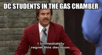 Rev Up Those Gas Chambers: DCSTUDENTS IN THE GAS CHAMBER  immediately  I regret this decision.