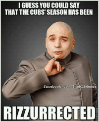 Anthony Rizzo batting .386 with 4 homers in 11 games!!!! #beastmode (Credit: Matt Lupton): I GUESS YOU COULD SAY  THAT THE CUBS SEASON HASBEEN  facebook.com/The  BMemes  RIZZURRECTED Anthony Rizzo batting .386 with 4 homers in 11 games!!!! #beastmode (Credit: Matt Lupton)