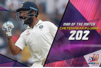 Cheteshwar Pujara named as man of the match for his amazing double century: 266  MAN OF THE MATCH  CHETESHWAR PUJARA  ZOZ  SPORTZ Cheteshwar Pujara named as man of the match for his amazing double century